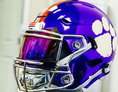 SHOC Lightning Football visor with our integrated true quick release system. Featured on a full custom purple chrome Clemson Tigers Riddell SpeedFlex football helmet Cool Football Helmets, Football Helmet Design, Sports Helmet, Steelers Helmet, College Football Uniforms, Custom Football, Nfl Football Teams, Football Stuff, Understanding Football