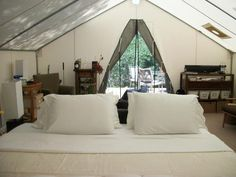 Looking for durable glamping tents for sale? Davis Tents manufactures and designs durable and luxurious glamping canvas tents. Wall Tent, Tent Awning, Canvas Tent, Tent Sale, Glamping Tents, Outdoor Gear, Cabin, Comfy, Luxury