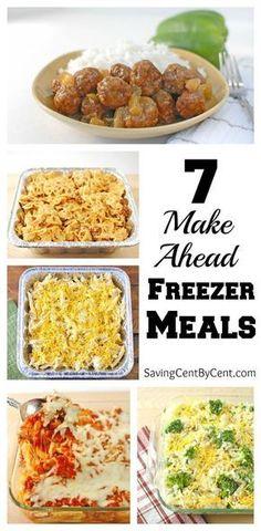 meals Plan Ahead Meals, Make Ahead Freezer Meals, Freezer Cooking, Freezer Dinner, Make Ahead Casseroles, Easy Meals To Make, Crockpot Freezer Meals, Meals You Can Freeze, Freezable Casseroles