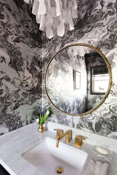 Round mirror, Lacroix wallpaper, vintage Murano Mazzega light fixture