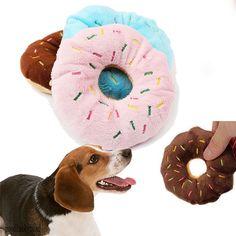 Sightly Bello Cane di animale domestico del Cucciolo del Gatto Squeaker Suono Del Ciarlatano Giocattolo Chew Donut Gioca Giocattoli