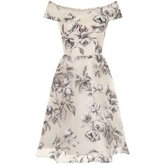 Chi Chi London Floral Print Bardot Midi Dress (105 AUD) ❤ liked on Polyvore featuring dresses, short dresses, cream, women, evening dresses, pink cocktail dress, pink dress, special occasion dresses and pink shift dress