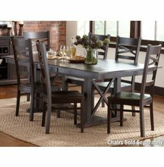 5 piece casual country antique black round dining table