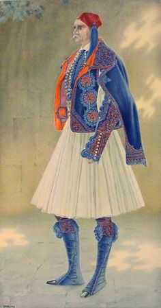 Greek Town Costume of 1835 including Fustanella - Greek Costume Collection by… Greek Traditional Dress, Traditional Outfits, Ancient Greek Costumes, Greek Town, Greek History, Costume Collection, Greek Art, Fashion Project, Folk Costume