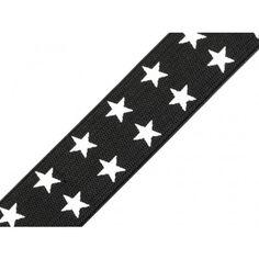 Gummiband mit Aufdruck mit doppel Sternen 25 mm – schwarz Stars, Black