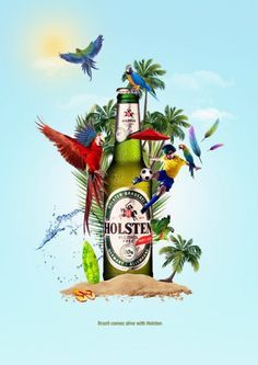 Excited for the 2014 World Cup in Brazil? Kick back with a Holsten beer. Lovely, imaginative design. Perfectly sums up the excitement around the football event! #Photo-manipulation #blue #advertising http://dizy.be/634618