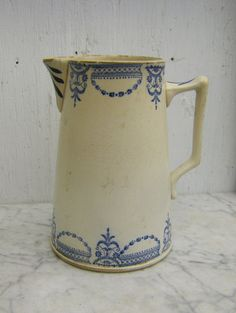 ♥ ~ ♥ Blue and White ♥ ~ ♥ Antique French Transferware Pitcher Antique Dishes, Vintage Dishes, Vintage Clocks, Blue And White China, Blue China, Earthenware, Stoneware, Objets Antiques, French Decor