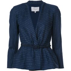Carolina Herrera Pinstriped peplum blazer (65 585 UAH) ❤ liked on Polyvore featuring outerwear, jackets, blazers, blue, long sleeve blazer, blue blazer jacket, peplum blazer jacket, carolina herrera jacket and blue pinstripe blazer