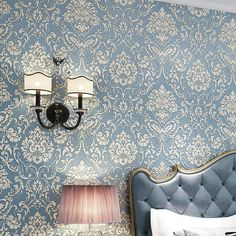 Damask Wallpaper 3D Mural Wallpapers Non-Woven Flock Floral Wallpaper for Walls Flower Paper Embossed papel de parede para sala