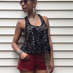 """Racerback Lace Cropped Top Size XS This sexy and fresh top is so versatile; wear it with shorts, or with your favorite skinnies! It features a rounded neckline, racerback style, and allover lace detail. Loose fit, 16"""" long and 65% cotton, 35% nylon. Worn once.  💢Leather red shorts and black booties available for purchase in my closet💢  🚫Paypal 🚫Trade 🚫Low Balling 🚫Drama Status By Chenault Tops"""