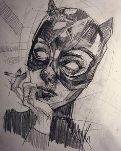 WEBSTA @ estipikal - 😿🚬#goodnight . #art #artcollective #drawing #instadraw #sketch #sketchbook #scribbleart #scribble #pencilart #pencil #dibujo #painting #lapiz #doodle #eyes #catwoman #illustration #shadow #artoftheday #artist #mask #quicksketch #blackandwhite #creative #comic #lines