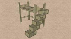 Hochbett: Bettgestell mit Treppe aus Regalkästen