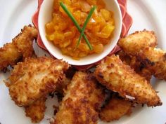 Coconut Chicken With Chilli Apricot Chutney