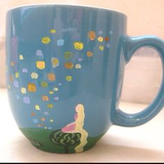 Tangled coffee mug hand painted from etsy