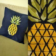 Hand Embroidery, pineapple, bordado de abacaxi, almofada de abacaxi.