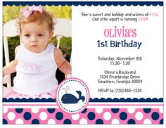 Girl's Navy and Pink Whale Party Invite with Picture