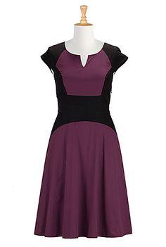 I <3 this Colorblock A-line poplin dress from eShakti