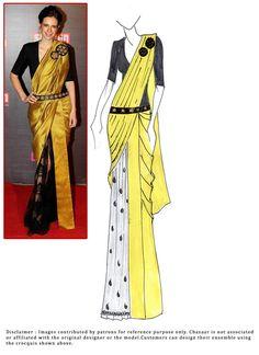 Kalki Koechlin Style Ready Pleated Saree Fashion Drawing Dresses, Fashion Illustration Dresses, Indian Designer Outfits, Designer Dresses, Latest Indian Fashion Trends, Kalki Koechlin, Dress Design Drawing, Kurti Embroidery Design, Sari Blouse Designs