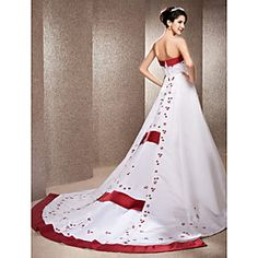 274.17 A-line Strapless Chapel Train Wedding Dress