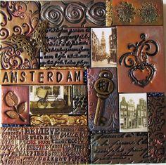 Amsterdam II  6 x 6 polymer clay mosaic by Kitty69 on Etsy, $50.00