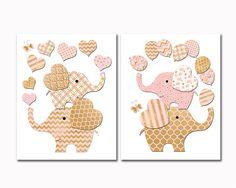 Elephant Baby girl nursery wall art kids room by PinkRockBabies Girls Room Wall Decor, Kids Room Wall Art, Kids Artwork, Playroom Decor, Nursery Wall Art, Girl Nursery, Art For Kids, Baby Girl Elephant, Pink Turquoise