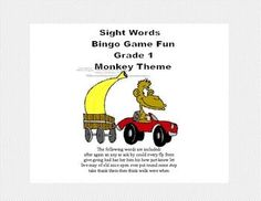 Bingo Game Fun- Sight Words for Grade 1 Monkey Themed What a fun-filled way to review Grade 1 Sight Words. This colorful Monkey Themed Bingo game can be printed on heavy cardstock and laminated to make a lasting reusable game. As an alternative, you can choose to print it on paper and allow the students to cross off the answers.   This package contains the following: 34 Themed Bingo Cards-4X4Grid 41 Calling cards -All of the Level 1 Words 10 blank decorated boards 25 blank calling cards
