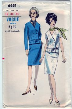 Vintage 1966 Vogue 6651 UNCUT Sewing Pattern Misses Two-Piece Dress and Scarf