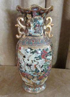 Vintage Chinese Vase porcelain Urn china gold crane antique handpainted