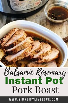 Made with plenty of fresh garlic rosemary and balsamic vinegar this instant pot pork roast is a huge crowd pleaser! And best of all it is so so easy! Grab this easy instant pot pork roast recipe and add it to your next meal plan! Instant Pot Pork Roast Recipe, Pork Roast Recipes, Instant Pot Dinner Recipes, Pork Tenderloin Recipes, Slow Cooker Recipes, Roast Brisket, Beef Tenderloin, Pressure Cooker Pork, Instant Pot Pressure Cooker