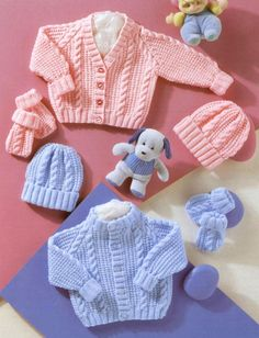 Vintage Knitting Pattern PDF Baby Cable Pram Sets Cardigan Jacket Beanie Hat and Mitts Includes Premature Sizes Baby Cardigan Knitting Pattern Free, Baby Boy Knitting Patterns, Baby Sweater Patterns, Knitted Baby Cardigan, Knit Baby Sweaters, Knitted Baby Clothes, Baby Patterns, Baby Knits, Pram Sets