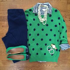Navy Stripe Shirt, Green Polka Dot Sweater, Old Navy Pixie Pants, Pearl Necklace | #workwear #officestyle #liketkit | www.liketk.it/Yx1W | IG: @whitecoatwardrobe
