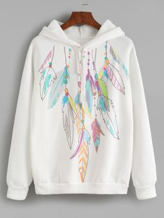 Sweat-shirt imprimé plumes avec capuche - blanc