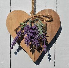 Holzherz mit Lavendel Deko Türkranz Wanddeko Shabby Vintage Landhaussti 15 x15cm