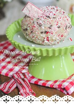 Peppermint Crunch Cookie Dough Ball (Dip) via @PickyPalate
