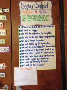 Social Contract written from ideas and thoughts that students came up with. We have a social contract in place of a list of rules. Classroom Contract, Behavior Contract, Classroom Incentives, Social Contract, Classroom Behavior Management, Classroom Rules, Future Classroom, Class Contract, Classroom Ideas