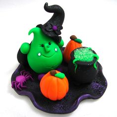 Halloween WITCH  PARKER Polymer Clay Character