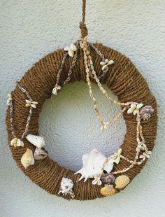 Summer, wreath, seashells, front door