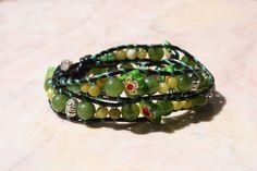 Green Beaded Wrap Bracelet with Shell Clasp. $18.00, via Etsy.
