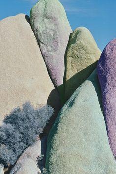 Desert rock formation, digitally added color, Joshua Tree, CA.