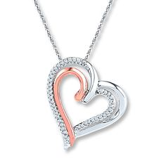 This sterling silver double heart necklace for her features a swirl of rose gold for an eye-catching look. Rows of diamonds totaling carat in weight add shimmer to the hearts. The pendant sways from an rope chain secured with a spring ring clasp. Heart Jewelry, Diamond Jewelry, Gemstone Jewelry, Heart Promise Rings, Double Heart Necklace, Diamond Heart, Necklace Designs, Wedding Jewelry, Pendant Necklace