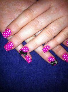 Pink white polka dots w black bow