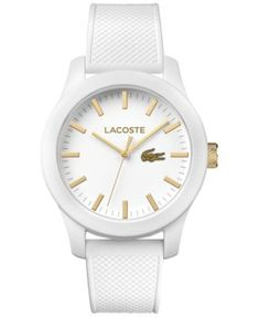 Shop Lacoste Unisex White Watch from stores. Casual Watches, Cool Watches, White Watches, Women's Watches, Bracelet Cuir, Bracelet Watch, Bracelet Silicone, Mens Gift Sets, Casio Watch