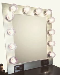 Our handmade vanity mirror in silver ✨ View more photos and enter for your chance to win a spinning lipstick tower Hollywood Vanity Mirror, Custom Vanity, Spinning, Tower, Lipstick, Makeup, Silver, Photos, Handmade