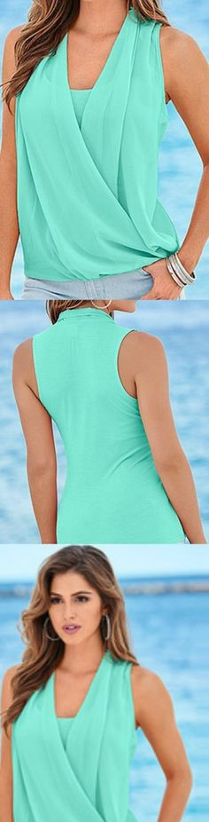 Aqua Green Sleeveless Chiffon Blouse! Click The Image To Buy It Now or Tag Someone You Want To Buy This For. #GreenBlouse