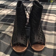 """Black Toms Booties Women size 8, true to size. Only worn one time, super cute black leather open toed toms booties. 3"""" heel can be worn casually or can be super dressed up!! TOMS Shoes Ankle Boots & Booties"""