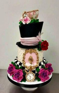 Alice in Wonderland Themed Mad Hatter Roses Tea Cup Bridal Wedding Shower Custom Sculpted Cake by Fluffy Thoughts Cakes. Fancy Cakes, Cute Cakes, Pretty Cakes, Gorgeous Cakes, Amazing Cakes, Decoration Patisserie, Sculpted Cakes, Alice In Wonderland Tea Party, Bridal Shower Cakes