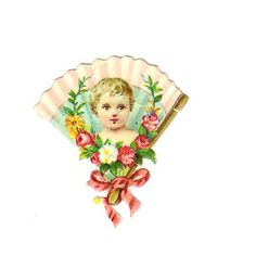 2 Vintage Victorian Die Cuts: Mirror and Fan Clip Art from Vintage Die Cuts