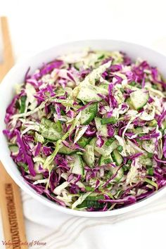 Red and Green Cabbage Cucumber Salad Recipe - Valya's Taste of Home