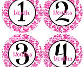 BABY MONTH STICKERS - Damask Baby Month Onesie Stickers - Hot Pink and Light Pink Baby Month Stickers - Sarah. $9.00, via Etsy.