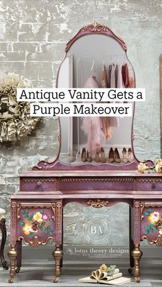 Funky Painted Furniture, Reclaimed Furniture, Refurbished Furniture, Repurposed Furniture, Furniture Makeover, Diy Furniture, Furniture Design, Antique Vanity, Home Decor Mirrors
